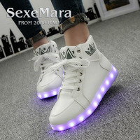 Foreign Trade Fashion Usb Charge Led Colorful Melbourne Shuffle Dance Shoes Hip Hop Shoes High Help