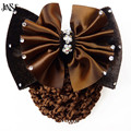 JINSE Satin Lady Bow Rhinestone Barrette Hair Clip Cover Bowknot Net Bun Snood Hairband Hair Band Hair Accessories