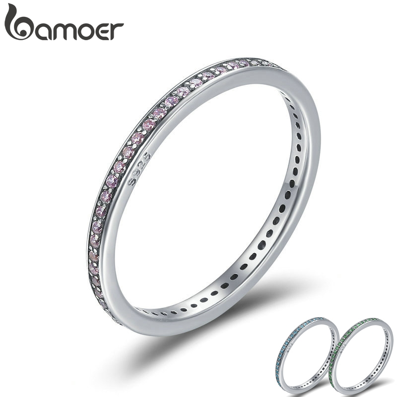 BAMOER Authentic 925 Sterling Silver 3 Colors Luminous CZ Round Female Finger Rings