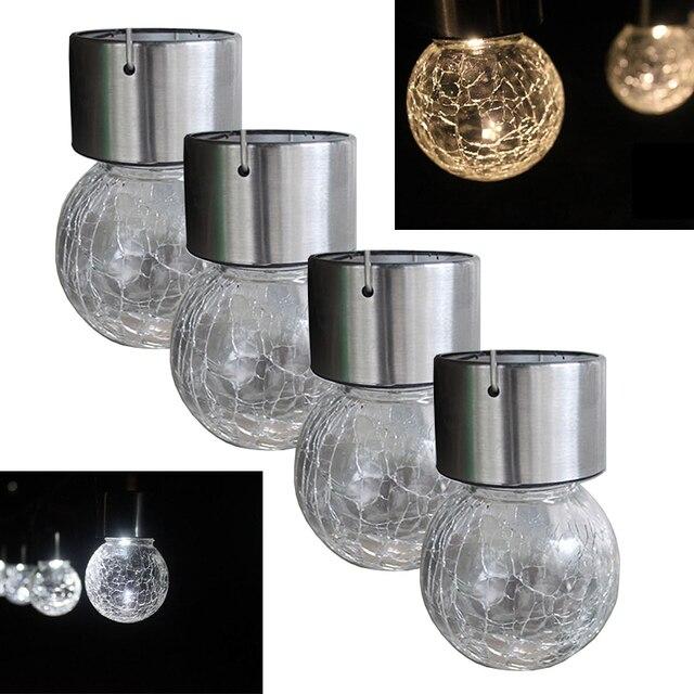 4 Pcs LED Globe Crackle Solaire Extérieure Jardin Lampe Décorative ...