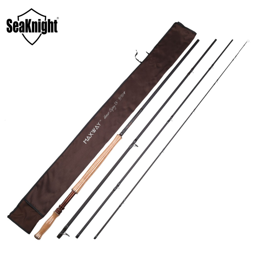 SeaKnight MAXWAY Serie Spey Honor 9/10# 4 Sections 13FT 3.9M 40T Carbon 3A Soft Wooden Handle FUJI Rings Fly Fishing Rod Fly Rod