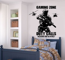Niños Habitación Tatuajes de Juegos Zona de juegos Call of Duty Soldado Estilo con Helicóptero NY306 Teenboys Playroom Dormitorio Etiqueta de La Pared de Vinilo