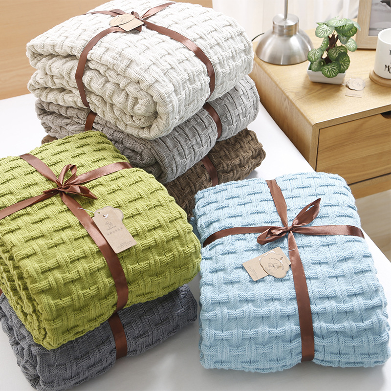 Size 120*180CM Knitted Blanket Bed Cover Blanket Super Soft & Warm Blanket  7 Colors Weight 1.3 kg thicken soft knitted sleeping bag kids wrap mermaid blanket