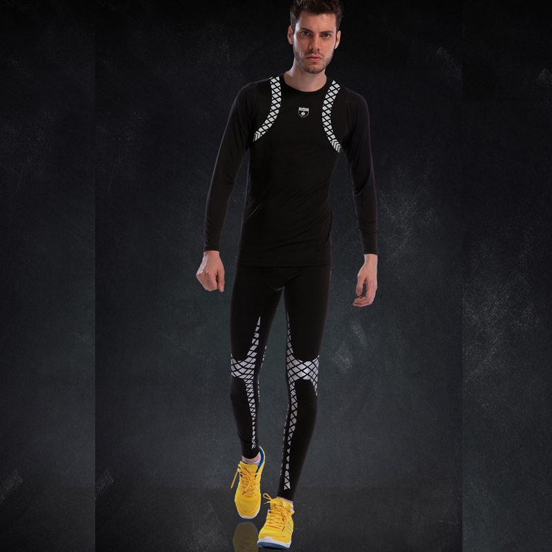 Traje de gimnasio ajustado para hombre de manga larga de compresión conjunto de Fitness 2019 nuevo patrón clásico fresco ropa deportiva de poliéster correr conjuntos de medias deportivas - 4