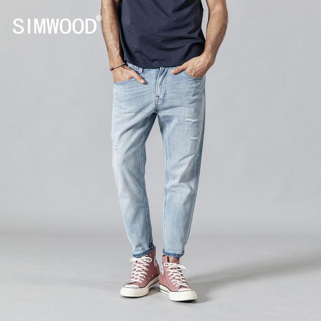 SIMWOOD 2020 printemps nouveau déchiré jean hommes mode bleu clair cheville longueur trou denim pantalon grande taille marque vêtements 190348