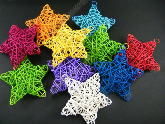 10cm Special Nice Multicolors Rattan Crafts Stars Decorations For Christmas Home School Supermarket
