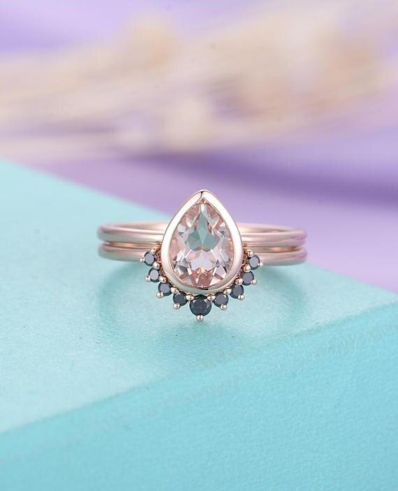 Myray Pear Shaped Cut Pink Morganite Engagement Ring Set 14k Rose Gold Black Diamond Wedding Band Antique Women Anniversary Gift Rings Aliexpress