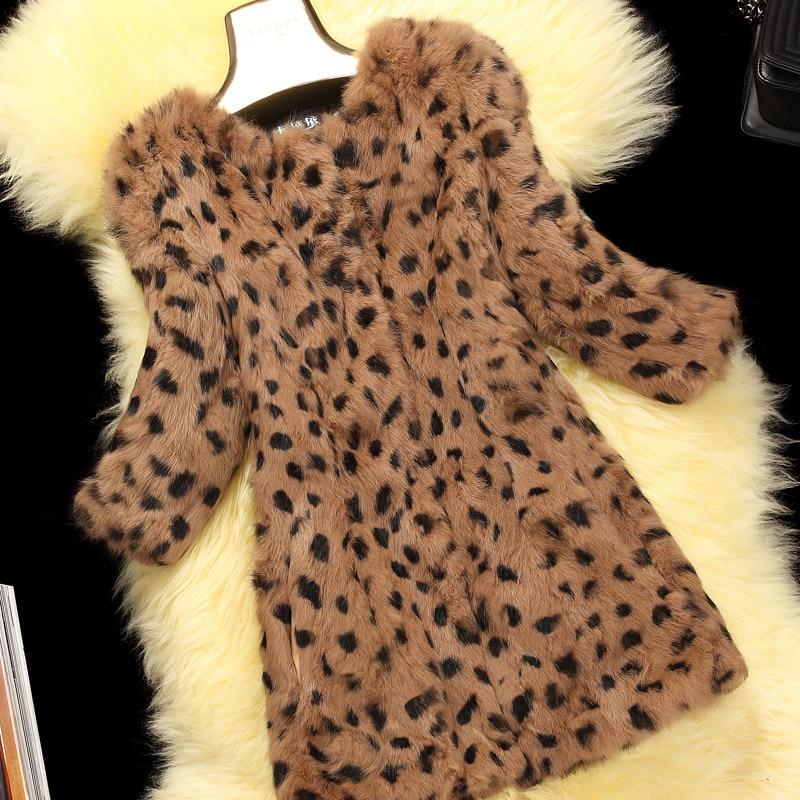 12f079ce43d9 Leopard Color Natural Rabbit Fur Jackets Outerwear Women O neck 3/4 Sleeve Real  Rabbit