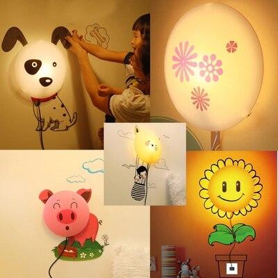 Removable 3D Wall Sticker LED Night Light Cartoon DIY Wallpaper Wall Lamp for Kids Sunflower, Dalmatian, Pink Pig, Departure novel birds led night light wall night desk lamp with sticker