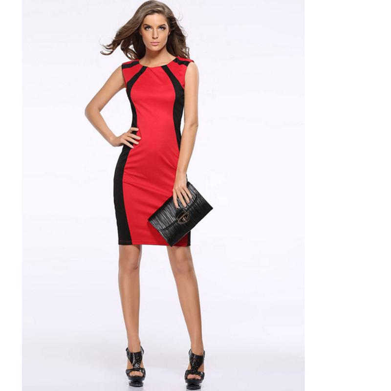 HTB1UNDMh1EJL1JjSZFGq6y6OXXaf - 2018 Summer Women's Bodycon Patchwork Sleeveless Fashion Pencil Midi Sexy Casual Elegant Dresses Plus Size 3xl Tunic Dress