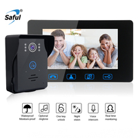 Saful 7 Inch Waterproof LCD Wired Video Door Phone Video Intercom Touch key Night Vision For Home Electric Lock control