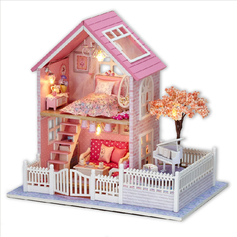 A036 pink cherry big DIY dollhouse miniature villa wooden doll house Miniatura Puzzle Model Handmade Dollhouse Birthday Gift new arrive diy doll house model building kits 3d handmade wooden miniature dollhouse toy christmas birthday greative gift