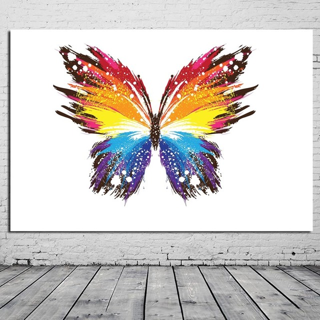 colorful abstract painting animal butterfly painting wall poster