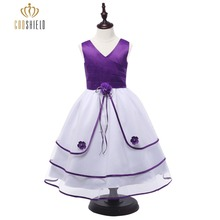 2017 Purple V Neck Flower Girl Dresses For Weddings Sleeveless Appliques Tiered Lace Edged Pageant Dresses for Little Girls