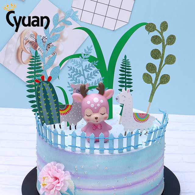 Llama Alpaca Cactus Cake Toppers Jungle Party Decorations Baby Shower Decor Kids Birthday Supplies