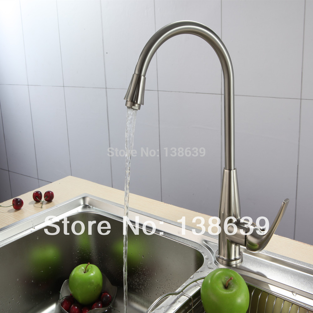 Free shipping Brushed Nickel Kitchen Faucets Bathroom Basin Mixer Tap Swivel Brass Faucet tall basin mixer