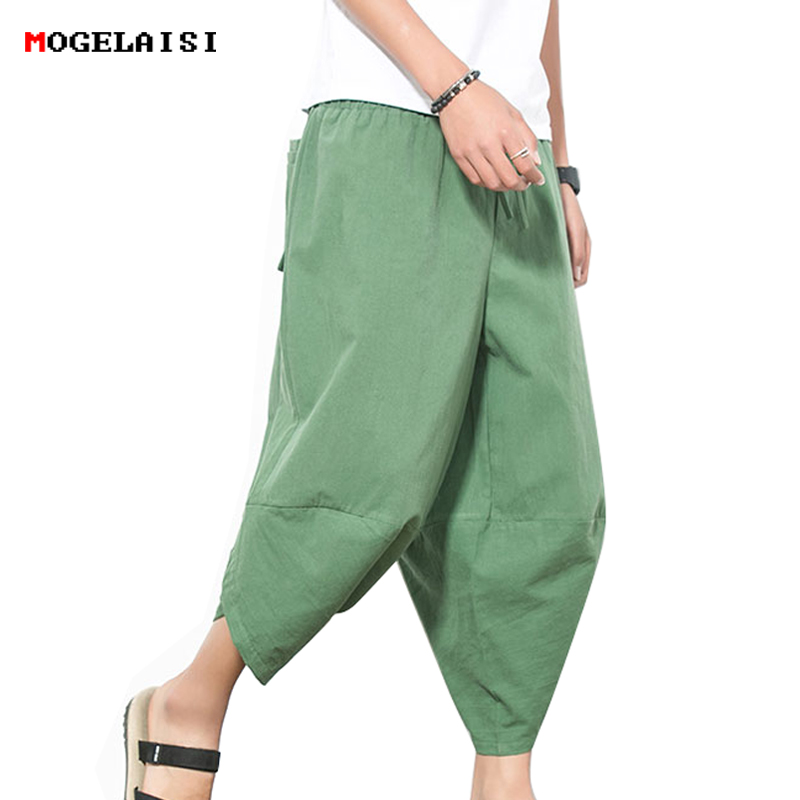 Summer Mens Harem Pants Linen Cotton Loose Casual pants Flax Solid Trousers Autumn Cross Linen Calf Length Pants For Men M-4XL
