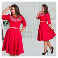 2017 Fashionable Elegant Large Size Women Dresses Casual Clothing 5XL 6XL Plus Size Women O-neck Solid Knee-Length Dress Autumn
