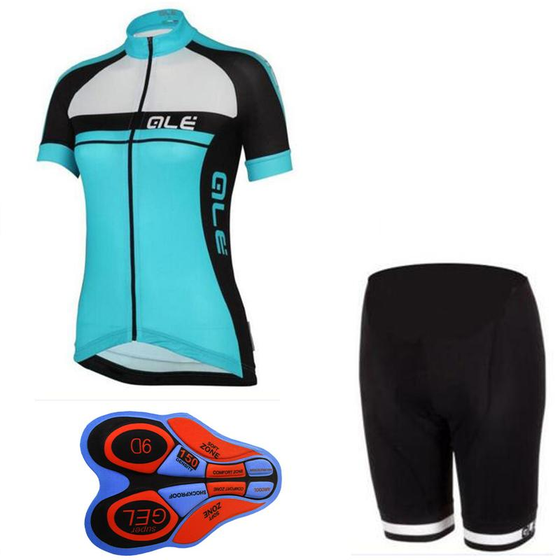 2017 Pro Team Custom ALE Cycling Sets Summer Women Breathable Cycling Clothing Jersey Short Sleeve Sets with Gel Padded Shorts