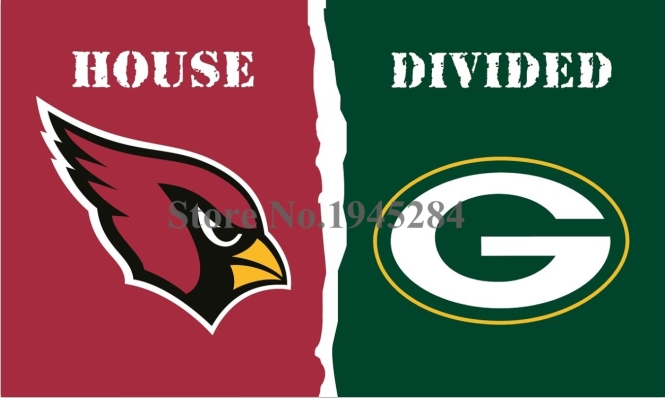 NFL Arizona Cardinals Green Bay Packers House Divided Flag 3x5ft 150x90cm Polyester Flag Banner, free shipping