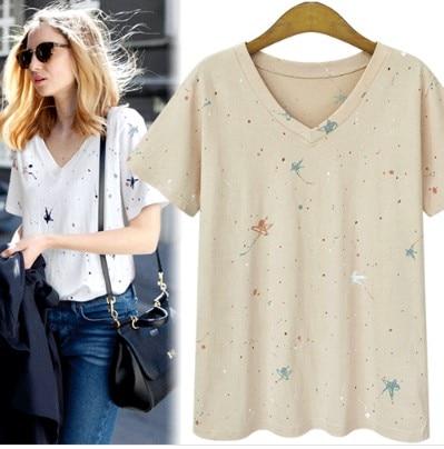 AREALNA Summer tops Women   t  -  shirt   Fashion printing tee   shirt   femme Casual V Neck Short Sleeve   t     shirt   women tshirt Plus Size 5XL
