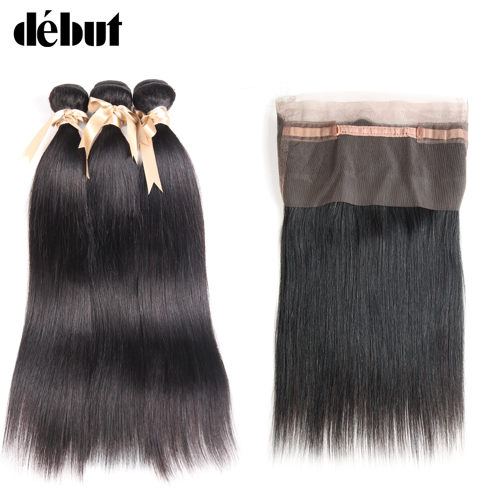 Debut Human Hair Bundles With Closure Brazilian Hair Weave Bundles Straight 12 To 26 Inch 2/3 Bundles With 360 Lace Frontal
