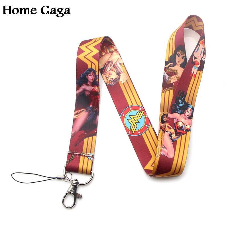 Homegaga Wonder woman keychain id lanyard webbing ribbon neck strap fabric badge phone holder necklace accessories D1610