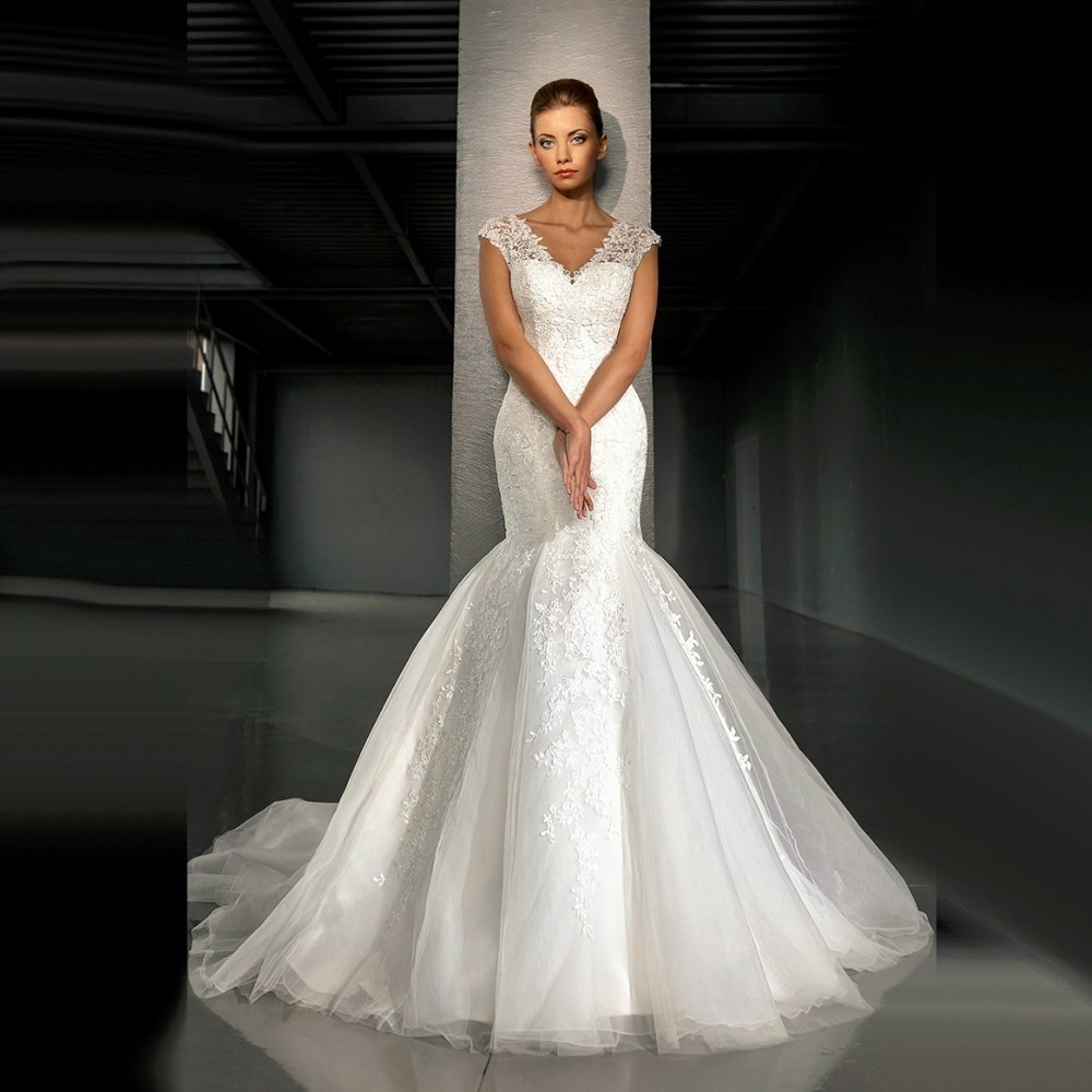 V Neck Wedding Gowns: Fashion Charming Mermaid Wedding Dress 2016 New V Neck