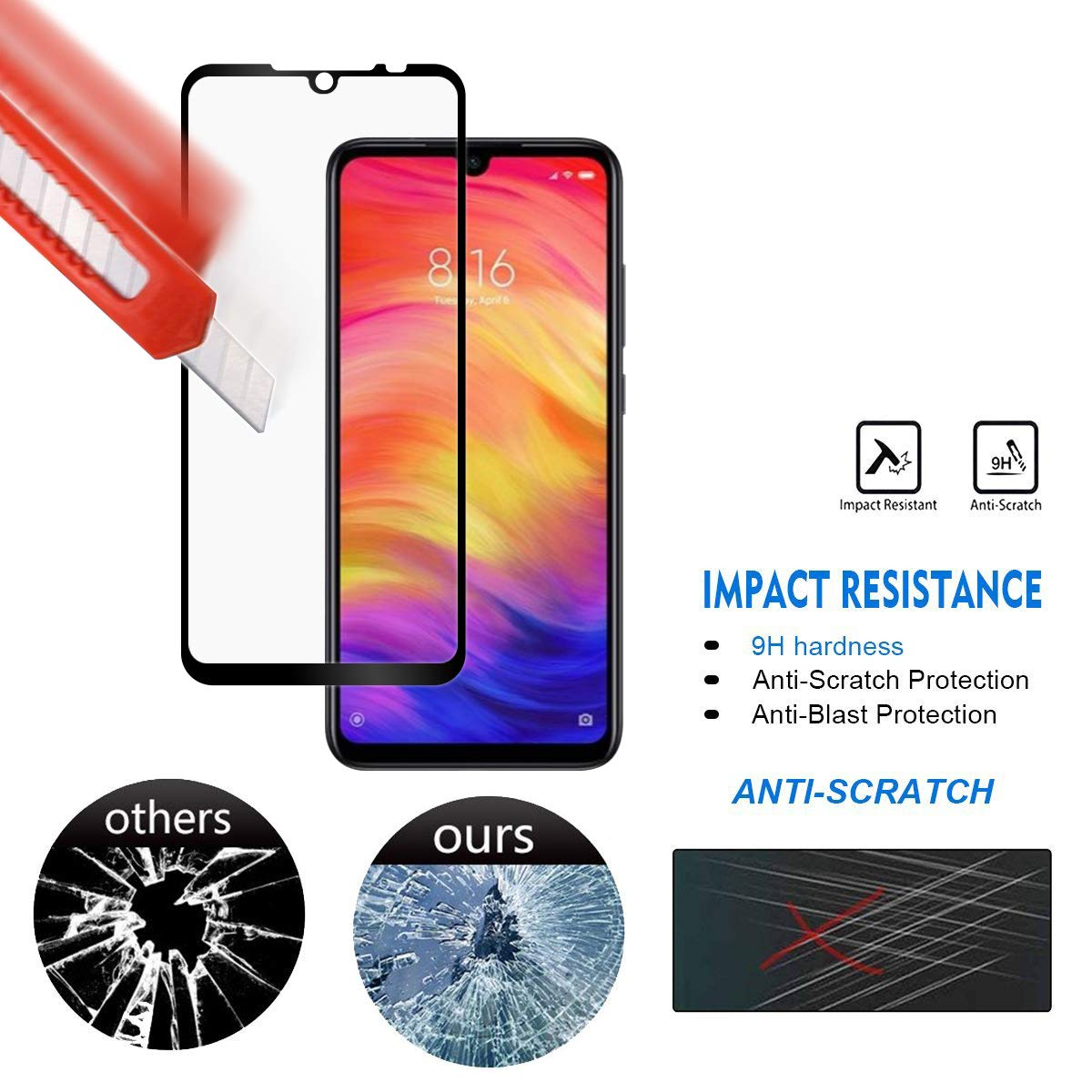2 Packs For Xiaomi Redmi Note 7 Tempered Glass 9H Explosion-proof Screen Protector Film For Xiaomi Redmi Note 7 Note7 Pro Glass (Black)