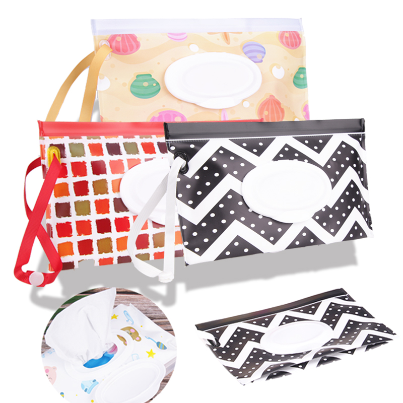 Apprehensive Eco-friendly Wet Wipes Bag Clamshell Cosmetic Pouch Easy-carry Snap-strap Wipes Container Clutch And Clean Wipes Carrying Case Fine Workmanship