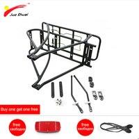 Jueshuai Black 26inch 700C 28inch Bike Luggage Rack Double Layer Bicycle Battery Rear Carrier Adjustable Heavy Duty Bike Hanger