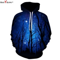 BIANYILONG Starry Sky Forest 3d Sweatshirts Men Women Hoodies With Hat Print Stars Nebula Autumn Winter