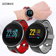 """SCOMAS Fashion Design Bluetooth 4.0 Smart Watch 1.0""""LCD For IOS Android Pedometer Heart Rate Tracker Relogio Wrist Smartwatch"""