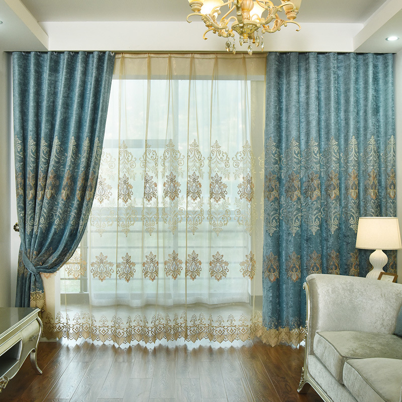European Embroidery Chenille Embroidery Shade Curtains For Living Dining Room Bedroom.