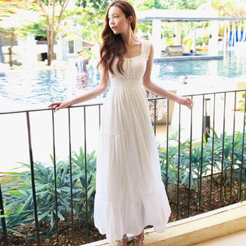 2019 New Spring Summer Round Neck Sleeveless One Button Loose Casual Simple Chiffon Long Dress Women Fashion fashion trendy women dress solid color sleeveless sexy halter dress v neck casual loose chiffon dress for summer