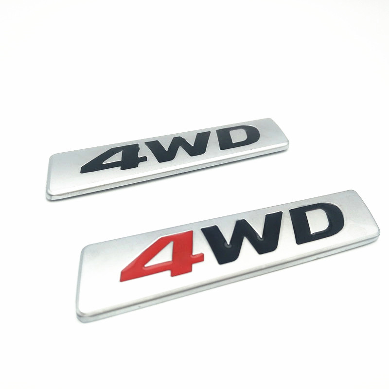 3D Metal Chrome Sticker AWD Emblem 4WD Badge Logo Tail Fender Decal for Toyota Impreza Honda 4X4 Off Road SUV Car Styling image