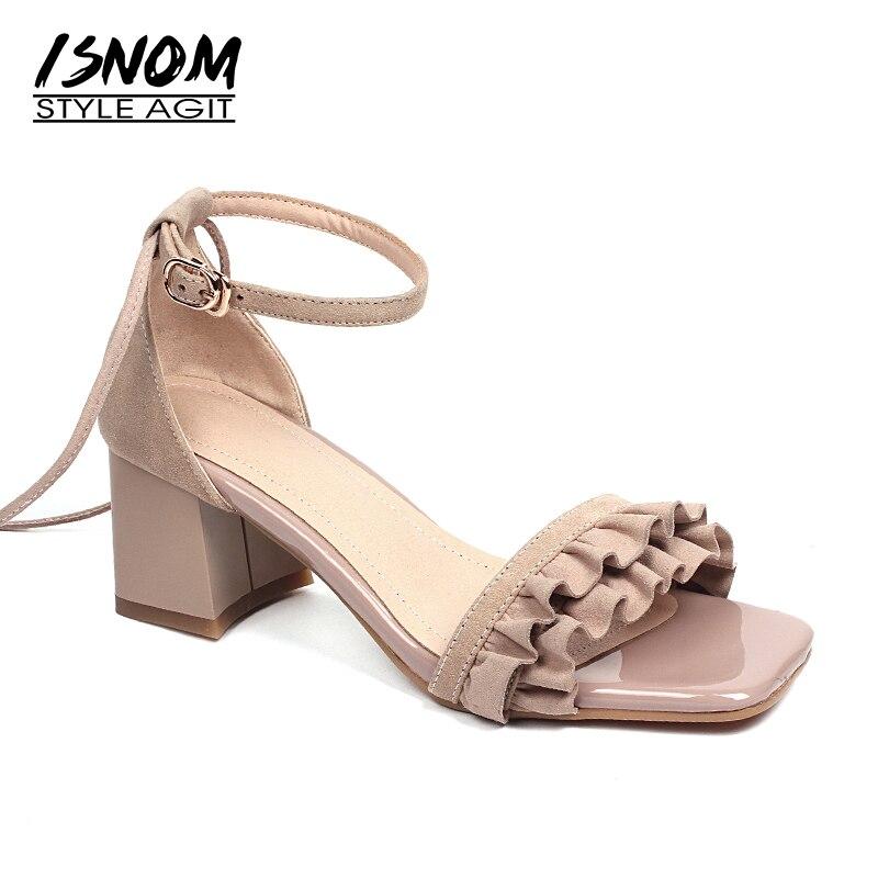ISNOM 新 2018 夏のサンダルの女性のファッションパーティーの女性の靴子供スエードサンダル靴アンクルストラップオープントゥ靴  グループ上の 靴 からの ハイヒール の中 1