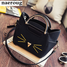 Original new women handbag fashion cat costume shopper bag mini purse blue/black pu leather handbag fashion women messenger bags