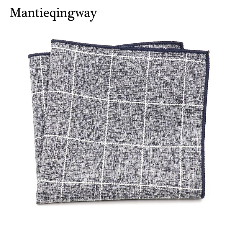 Mantieqingway Cotton Plaid Handkerchief For Mens Suits Wedding Small Polyester Pocket Sqaure Hanky Male Pocket Chest Towel