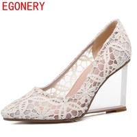 EGONERY Shoes 2017 New Fashion Pointed Toe Strange Style European And American Style Black Net Face