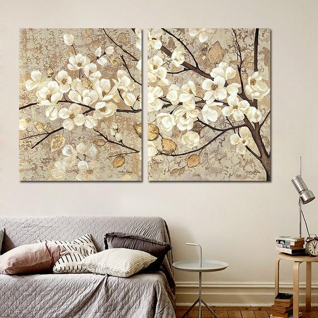 Retro Chinesischen Japan Stil Dekoration Weissen Blumen Wandkunst Bild Gelb Old Blatt Baume Leinwand Malerei Wohnzimmer