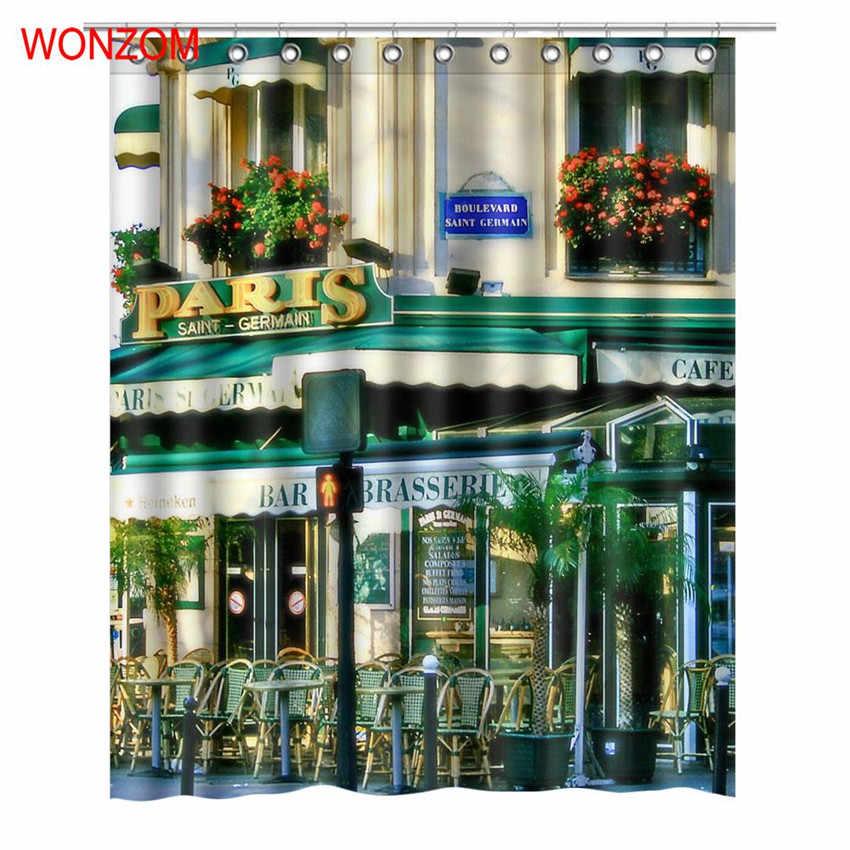 Wonzom 3d مقهى البوليستر حمام دش الستار مع 12 خطاف للحمام ديكور الحديثة للماء ستارة الحمام