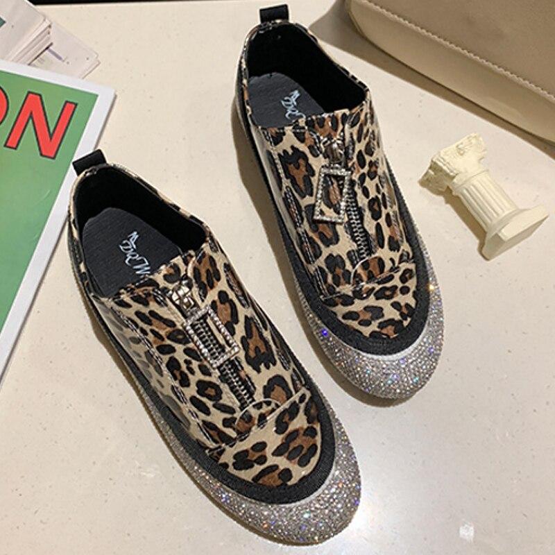 Sport Femme Tendance Non slip Chaussures Yellow Sexy Pour Printemps De Dames 2019 Baskets port Leopard En Cristal Dur Zipper Léopard Leopard gray Pzt6qZw6