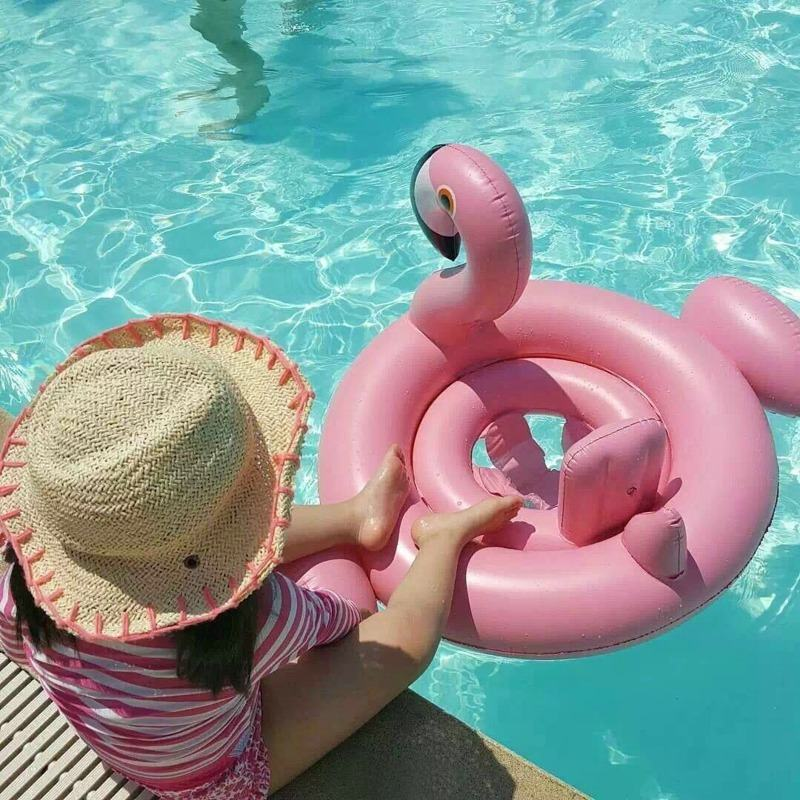 Inflatable white swan flamingo Babys kid beach toy outdoor swimming bathing ring pool Sea Toy Summer cute ride-on floating boat