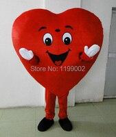 Красное сердце из взрослых Маскоты костюм для взрослых Размеры Fancy Heart Маскоты костюм Бесплатная доставка