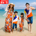 2016 Matching Father Mother Baby Clothing Daughter Mother Colorful Maxi Dress Father Son Beach T-shirt Family Matching Clothes