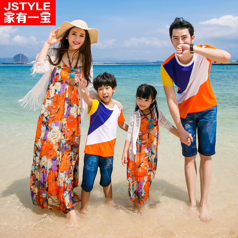 2017 Matching Father Mother Baby Clothing Daughter Mother Colorful Maxi Dress Father Son Beach T-shirt Family Matching Clothes father–daughter incest