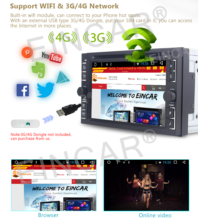 """EinCar Android 6.0 Marshmallow 6.2"""" Quad Core 1.6GHz Head Unit Android Double Din Car Stereo GPS 2 din Car DVD Player In Dash"""