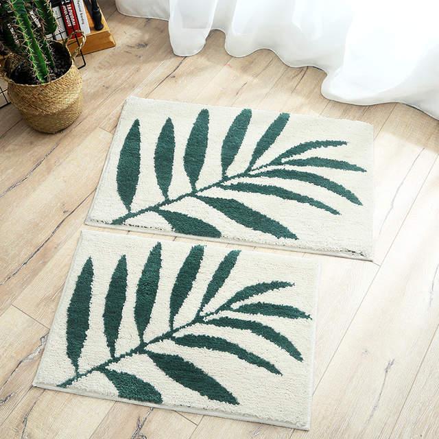 Door Mat Home Green Leaf Floor