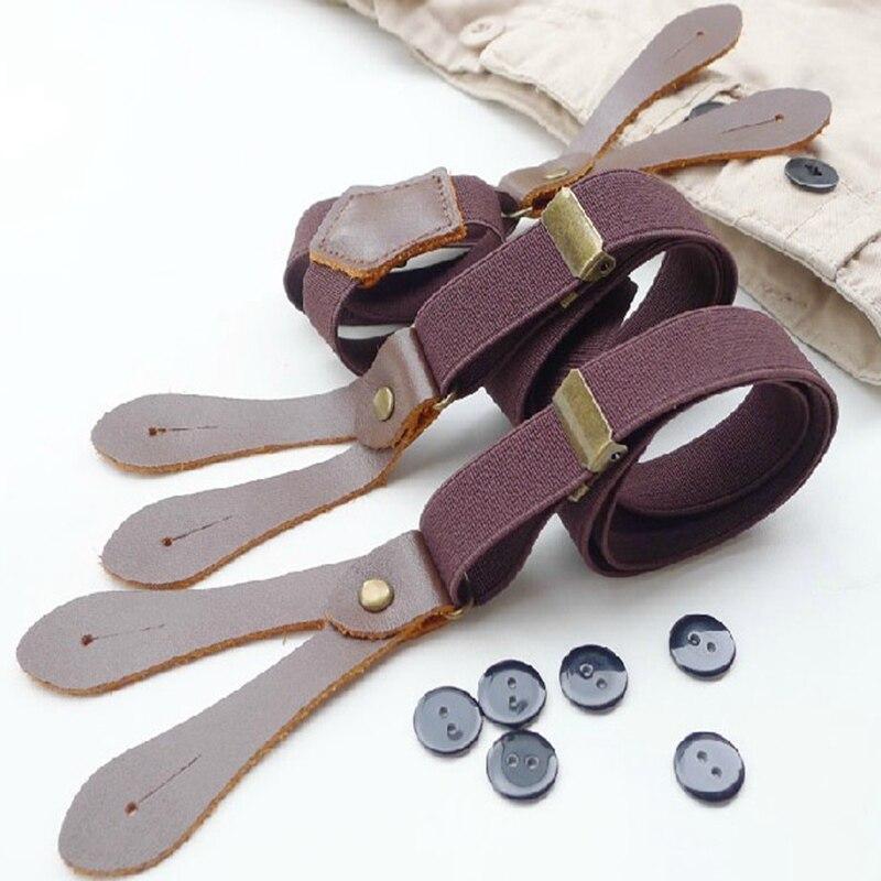 1Ps Men's Casual Wild Adjustable Solid Six-Hole Sling Support Suspenders Unisex Original Minimalist Decoration BDXJ214